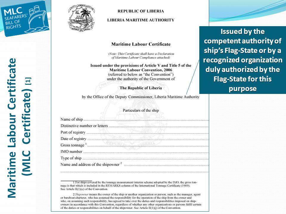 Maritime Labour Certificate (MLC Certificate) [1]